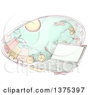 Clipart Of A Sketched Laptop Computer And An Oval Of City And Transportation Royalty Free Vector Illustration by BNP Design Studio