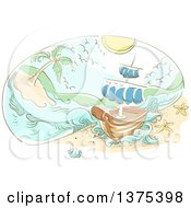 Clipart Of A Sketched Shick Wrecked On An Island Royalty Free Vector Illustration
