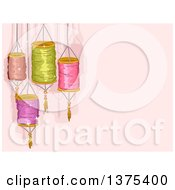 Clipart Of Colorful Chinese Lanterns Over Pink Royalty Free Vector Illustration