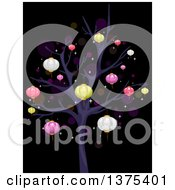 Clipart Of Colorful Chinese Lanterns On A Tree Over Black Royalty Free Vector Illustration