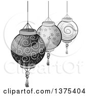 Clipart Of Grayscale Patterned Paper Lanterns Royalty Free Vector Illustration by BNP Design Studio