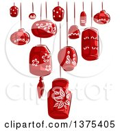 Clipart Of Sketched Red Paper Lanterns Royalty Free Vector Illustration by BNP Design Studio
