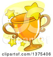 Clipart Of A Gold Grophy Cup And Stars Royalty Free Vector Illustration
