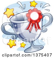 Clipart Of A Sparkly Siler Trophy Cup And Ribbon With Stars Royalty Free Vector Illustration