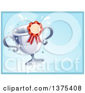 Clipart Of A Certificate Of Achievement Design With A Trophy And Ribbon On Blue Royalty Free Vector Illustration