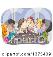 Clipart Of Happy Couples Eating A Meal Together Royalty Free Vector Illustration
