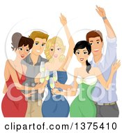 Clipart Of A Group Of Young Adults Toasting At A Party Royalty Free Vector Illustration by BNP Design Studio