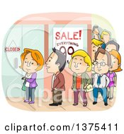 Clipart Of A Line Of People Outside A Mall Royalty Free Vector Illustration
