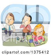 Clipart Of Adults Taking A Break In A Smoke Room Royalty Free Vector Illustration