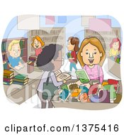 Clipart Of Happy Adults Shopping At A Book Bazaar Royalty Free Vector Illustration