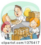 Clipart Of A Group Of Happy White Adult Volunteers Packing Up Donation Boxes Royalty Free Vector Illustration