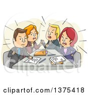 Clipart Of A Tense Meeting Of White Business Men And Women Arguing Royalty Free Vector Illustration by BNP Design Studio