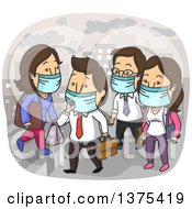 Clipart Of White Men And Women Wearing Masks In A Polluted City Royalty Free Vector Illustration