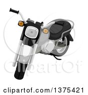 Clipart Of A Black And Chrome Motorcycle Royalty Free Vector Illustration