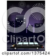 Clipart Of A Party Limo In A City With Fireworks In The Night Sky Royalty Free Vector Illustration