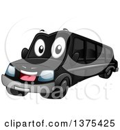 Clipart Of A Happy Black Limousine Car Royalty Free Vector Illustration