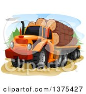 Clipart Of A Logging Truck With Logs Loaded Royalty Free Vector Illustration