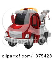 Clipart Of A Red Tow Truck Royalty Free Vector Illustration by BNP Design Studio