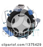 Tire Encircled With Mechanics Tools