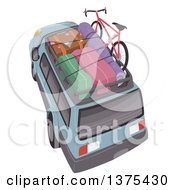 Clipart Of A SUV With Luggage And A Bike On Top Royalty Free Vector Illustration