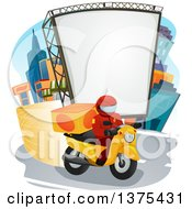 Clipart Of A Food Delivery Man On A Motorcycle In A City Royalty Free Vector Illustration