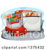 Clipart Of A Car In Line At A Drive Thru Restaurant Royalty Free Vector Illustration