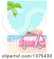 Clipart Of A Pink Van Packed With Accessories Parked On A Tropical Beach Royalty Free Vector Illustration by BNP Design Studio