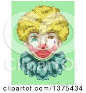 Clipart Of A Smiling Clown Face With A Blond Wig Over Green Royalty Free Vector Illustration