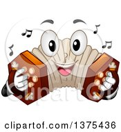 Clipart Of A Happy Concertina Character Playing Its Buttons Royalty Free Vector Illustration by BNP Design Studio