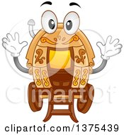 Clipart Of A Gypsy Caravan Character Waving Royalty Free Vector Illustration