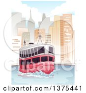 Clipart Of A Passenger Ferry In A City Royalty Free Vector Illustration