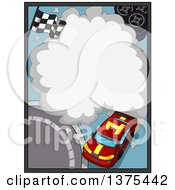 Clipart Of A Race Car With A Smoke Frame Royalty Free Vector Illustration