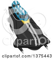 Clipart Of A Bobsled Team In Action Royalty Free Vector Illustration