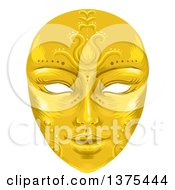 Clipart Of A Gold Ornate Face Mask Royalty Free Vector Illustration