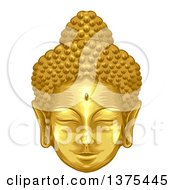 Clipart Of A Gold Buddha Face Royalty Free Vector Illustration