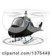 Clipart Of A Landing Black Helicopter Royalty Free Vector Illustration by BNP Design Studio