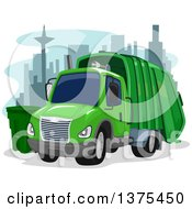 Green Garbage Truck In A City