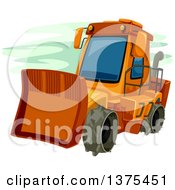 Clipart Of An Orange Bulldozer Royalty Free Vector Illustration by BNP Design Studio