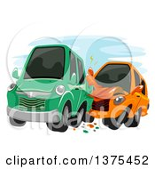 Clipart Of Cars Crashing Into Each Other Royalty Free Vector Illustration
