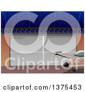 Clipart Of A Private Airplane By A Hangar Door Royalty Free Vector Illustration by BNP Design Studio