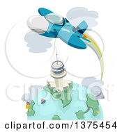 Clipart Of A Fighter Jet Flying Over A Tower And Earth Royalty Free Vector Illustration