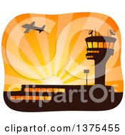Silhouetted Airplane Flying Over A Control Tower And Airport At Sunset