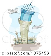 Clipart Of A Control Tower And Airplanes At An Airport Royalty Free Vector Illustration
