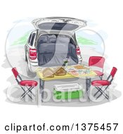 Clipart Of A Tailgate Lunch Set Up With A Table And Chairs Behind An SUV Royalty Free Vector Illustration