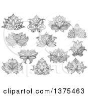 Clipart Of Black And White Henna Lotus Flowers Royalty Free Vector Illustration