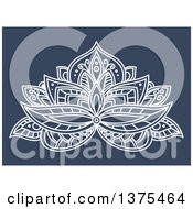 Clipart Of A White Henna Lotus Flower On Blue Royalty Free Vector Illustration by Vector Tradition SM