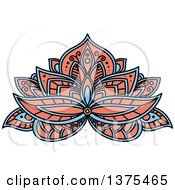 Clipart Of A Blue And Salmon Pink Henna Lotus Flower Royalty Free Vector Illustration by Vector Tradition SM