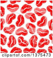 Seamless Background Pattern Of Red Lipstick Kiss Hearts