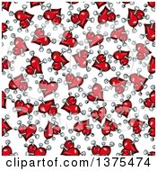 Seamless Background Pattern Of Red Hearts With Nails