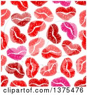 Seamless Background Pattern Of Red And Pink Lipstick Kiss Hearts